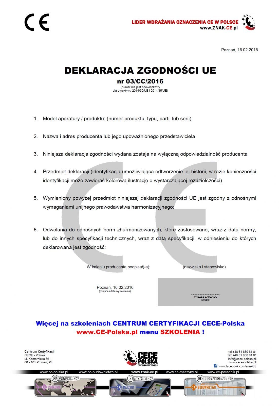 Deklaracja zgodności UE - www.ce-polska.pl