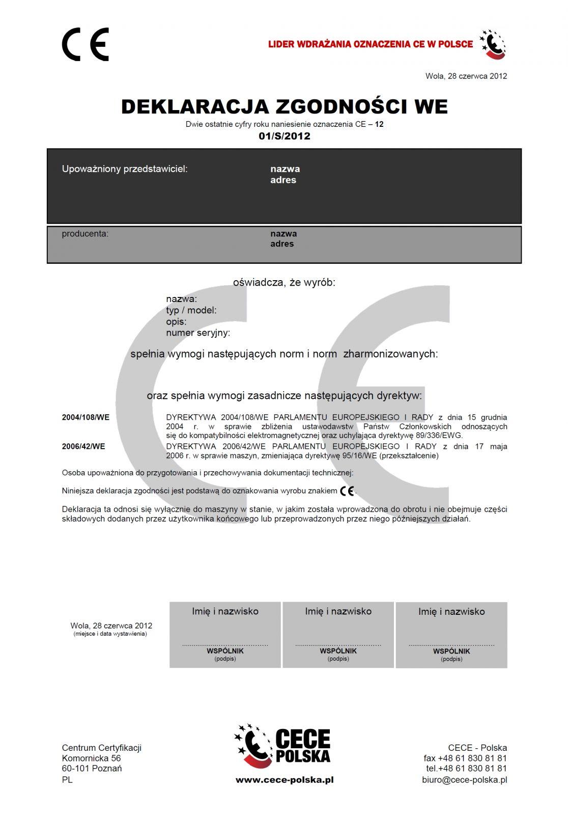 Deklaracja zgodności WE (niepoprawnie nazywana certyfikatem CE)