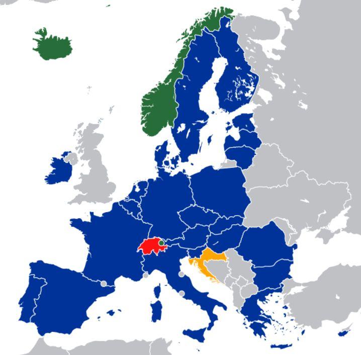 Europejski Obszar Gospodarczy bez Wielkiej Brytani / EOG / EEA